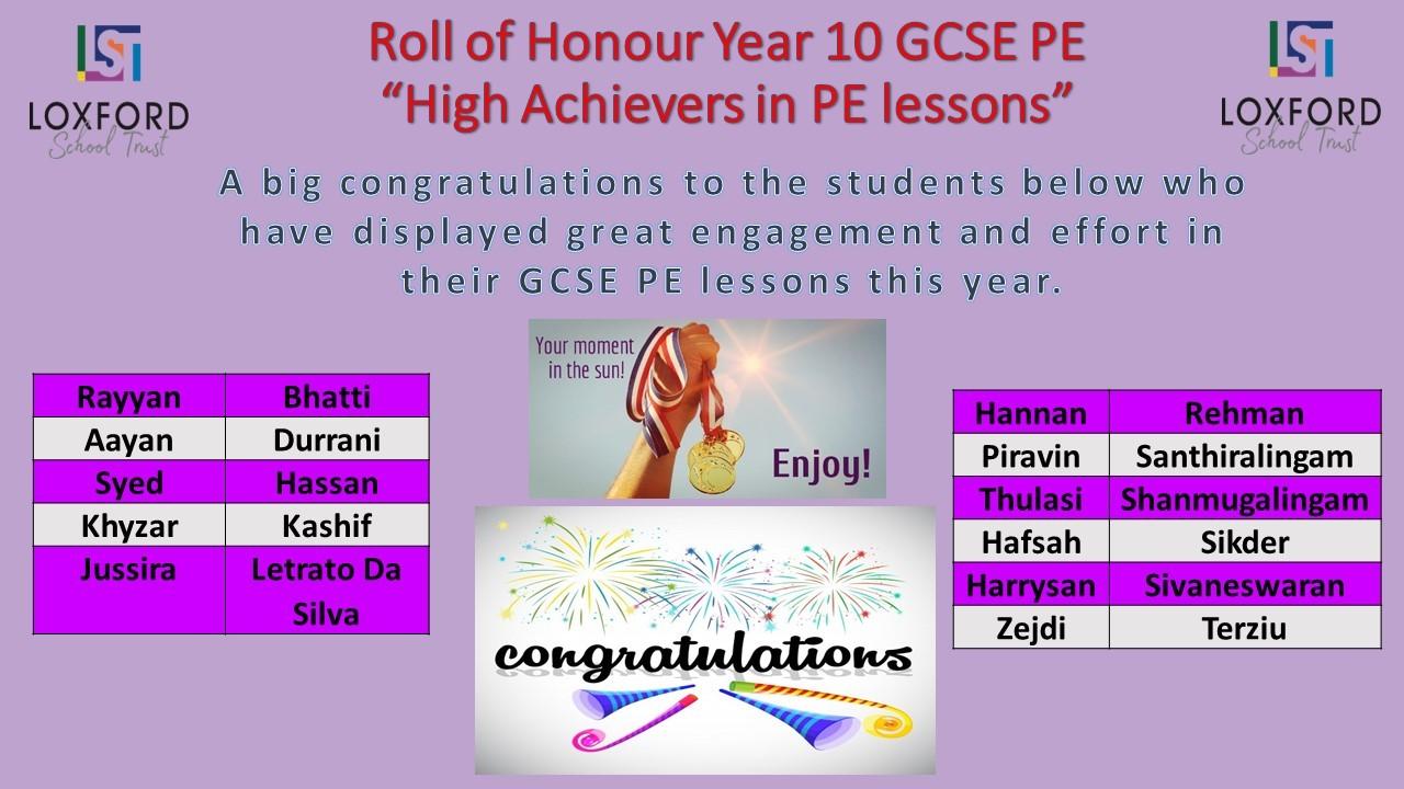 Final Roll of Honour Yr10 GCSE